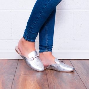TOPSHOP Kylie Loafer Mule Silver Size multi. NEW